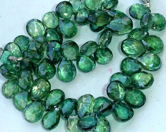 8 Inch,New Stock,Very-Very,Finest  Mystic GREEN Quartz Faceted Pear Shape Briolettes, AAA Quality,Best Cut, 10-11mm Size,Great Item