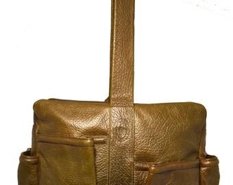 Vintage POLLINI Olive Leather Travel Bag / Soft Pebbled Leather Breifcase