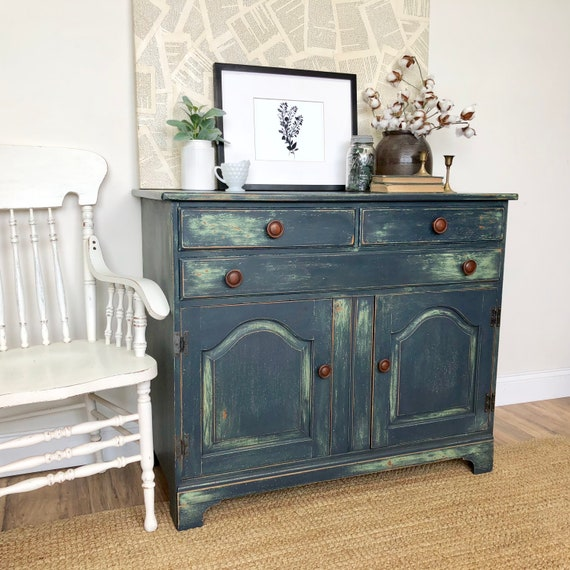 Small Blue Dining Room or Kitchen Sideboard Distressed Wooden Storage Cabinet - Green Farmhouse Buffet Table - Vintage Painted Furniture