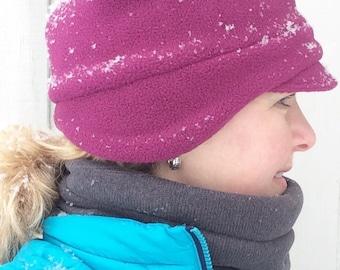 Fleece Hat, Womens Fleece Winter Hat, Womens Earmuff Hat, Earmuff Hat for Women, Fleece Hat for Women, Women's Winter Beanie, Beanie Hat