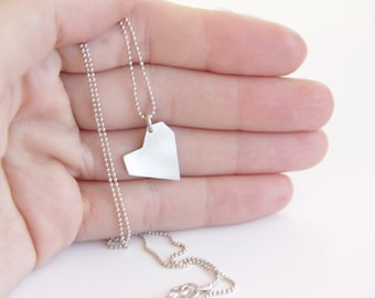 Love Heart necklace, Sterling Silver Asymmetrical Heart Necklace, Geometric Heart Necklace, Minimalist Heart Necklace, Valentine's Day Gift