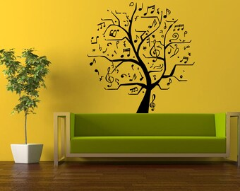 Wall Decal Vinyl Sticker Decals Peal And Stick Cheap Free Shipping Music Tree Notes On Branch L443