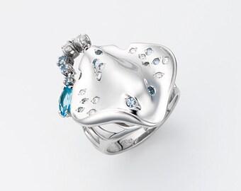 Silver Ring ''Stingray'', Nautical jewelry, Beach jewelry, Animal jewelry