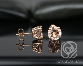 Rosados Box Donna 8mm 14kt Rose Gold Round Morganite Leaf Gallery Basket Stud Earrings