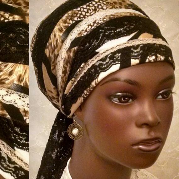 Black lace and animal print sinar tichel, head scarf, head wrap, Jewish hair covering, hair snood, chemo scarf, apron tichel, head covering