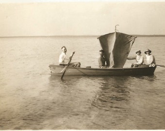 "Vintage Photo ""Waiting For A Breeze"" Sailboat Rowboat Homemade Sail Found Vernacular Photograph"