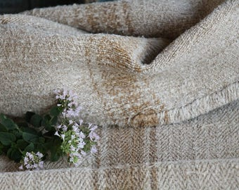 E 582: antique handloomed faded HAZELNUT, 37.80inches long; 리넨 , grainsack for pillows cushions runners, wedding decoration