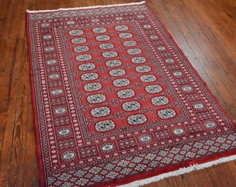 Fine Bokhara Rug, 4'2''x6', Red/Red, All wool pile