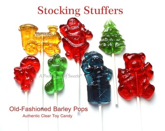 Stocking Stuffers, Clear Toy Candy, Edible Gift, Christmas Party, Favors, Christmas Gift, For Kids, For Mom, For Him, 8 Barley Sugar Pops