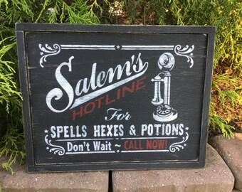 Halloween, Sign, Primitive, Signs, Wood, Salem, Witch, Salem's Hotline, Hexes, Spells, Potions,Vintage, Retro