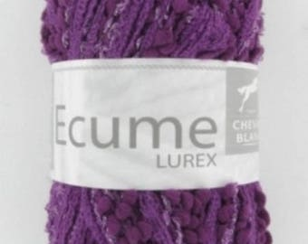 yarn fashion scarf foam Eggplant No. 007 white horse