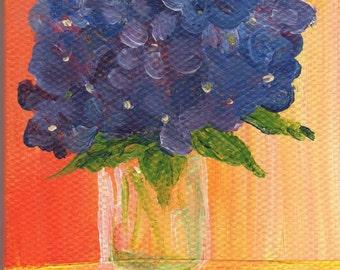 Hydrangeas original mini canvas art painting, Purple, blue hydrangeas in vase, flowers. small floral painting canvas
