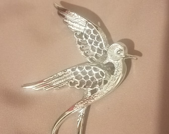 Vintage Sarah Coventry Bird Brooch Silver-Tone Sarah Cov Novelty Pin Coventry Costume Jewelry Fashion Gift