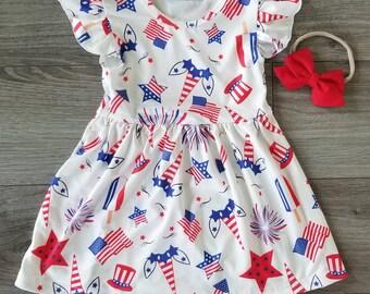 girls unicorn dress, size 2t-7, girls 4th of July dress, toddler dress, patriotic dress, girls boutique dress, unicorn dress, popsicle dress