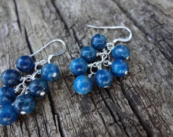 Blue Apatite Cluster Gemstone Earrings. Natural Stones. Sterling Silver Cluster Earrings