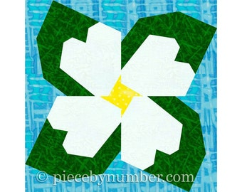 Dogwood Blossom paper pieced flower quilt block, paper piecing quilt patterns, PDF quilt patterns, flower quilt patterns spring garden quilt