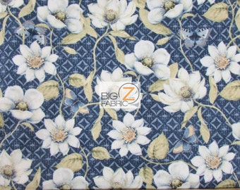 """Indigo Nature Navy By Daphne B. For Wilmington Prints 100% Cotton Fabric 45"""" Wide By The Yard (FH-1810)"""