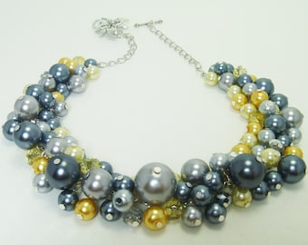 Shades of Gray and yellow pearl cluster necklace with crystals, bridal pearl jewelry, chunky necklace, bridesmaids gift, wedding jewelry.