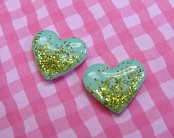 Aqua and Gold Glitter Heart Stud Earrings