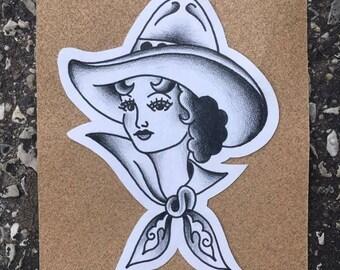 Cowgirl Tattoo Flash
