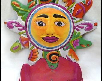 Sun Toilet Paper Holder, Painted Metal Bathroom Decor, Painted Sun, Tropical Decor, Toilet Tissue Holder, Metal Art, Haitian Art, M101-OR-TP