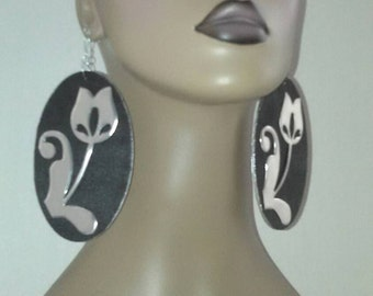 OVAL Black Wooden Earrings Trimmed in Silver and Embellished with a Silver Rose, Womens Earrings, Long Earrings, Large Earrings,