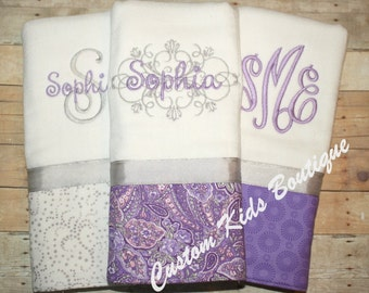 Purple and Gray Paisley Baby Girl Burp Cloth Gift Set- Set of 3 Custom Monogrammed Burp Cloths