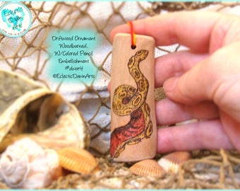 Tentacle Driftwood Art Ornament, Pyrography and Pencil, #DWOR4