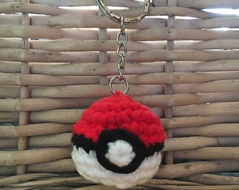 Crochet Pokeball Pokemon keyring gift christmas birthday boys gift