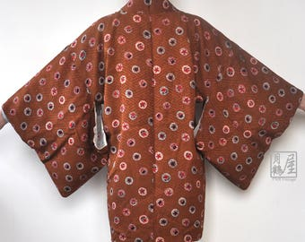 Japanese Kimono Jacket Haori/ Vintage Brown Kimono Haori Big Polka Dot/ Kimono Cardigan/ Short Kimono Robe/ Short Sleeve