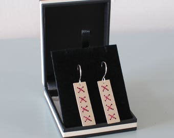 Red Wire Cross Stitch Earrings - Long Rectangle Metalwork Hammered Sterling Silver Dangle Jewellery Gift for Her by Emma Dickie Design
