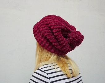 Fluffy slouchy beanie knitted hat with detachable pompom
