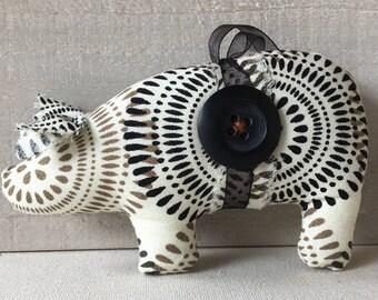 handmade pig ornament - shabby cottage ornaments - pig decor - Christmas ornaments - black and white ornaments - Christmas decorations