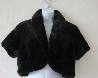 Wallace Sacks Black Faux Fur Short Sleeved Jacket