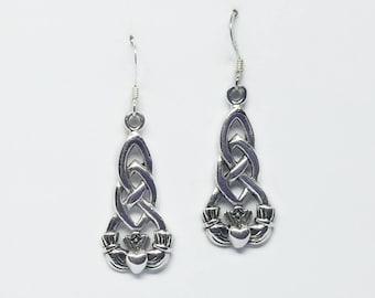 Claddagh Earrings~Silver Claddagh Earrings~Celtic Claddagh Earrings~Claddagh Knot Earrings~Irish Infinity Knot Earrings~Woven Knot Jewelry