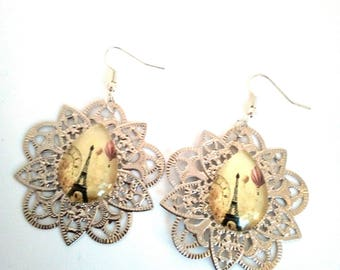 Earrings cabochon Eiffel Tower and print