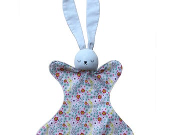 Baby Bunny Lovey Rattle Blanket Toy - Sleepy White Rabbit - Plush Ivory Minky and White Corduroy - Pink Floral - Girl Baby Gift