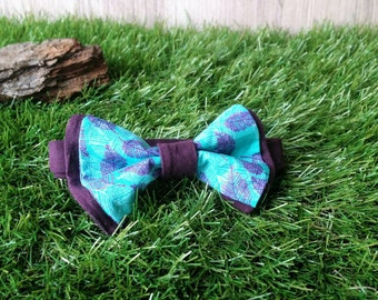 Bow tie blue turquoise and plum