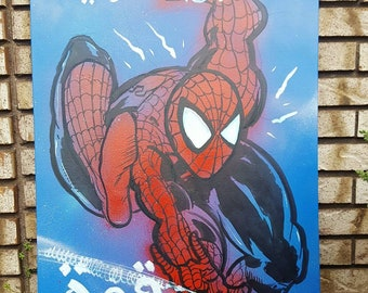 Original Spiderman Painting (24x36 in Canvas) by RELYDETROIT