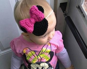 Minnie Mouse Crochet Headband or Clip