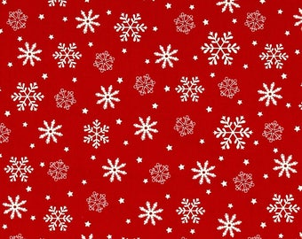 Reindeer Magic Snowflakes on Red from Henry Glass Fabric's Reindeer Magic Collection