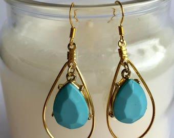 Blue Raindrop Charm in Gold Raindrop Loop, Blue and Gold Raindrop Earrings, Blue and Gold Teardrop Earrings