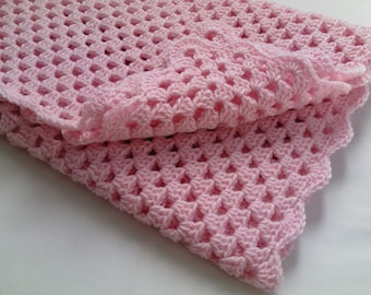 Crochet PATTERN Baby Blanket tutorial, pink baby blanket PDF file