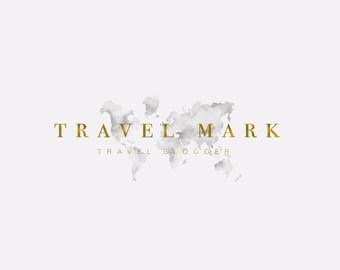 Pré en voyage Blog Logo, Logo de voyage, Blogger Logo, Logo World, aquarelle Logo, filigrane, Logo personnalisé, Logo or, Logo féminin