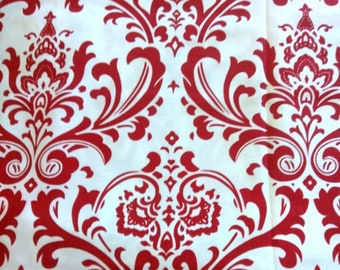 Valance Red & White Damask Window Curtain