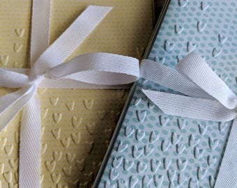 Pastel Heart-Embossed Cards in Sets of Three