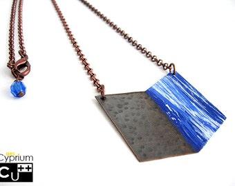 Geometric necklace/Blue handpainted pendant/Chevron copper pendant/Rolò chain