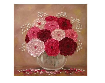 """Pink Cream Burgundy Ranunculus in a glass bowl Original oil impasto painting on STRETCHED CANVAS 20"""" X 20""""  No.04-54 ready to hang"""