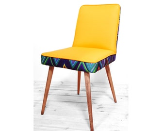 restored vintage yellow zigzag chair