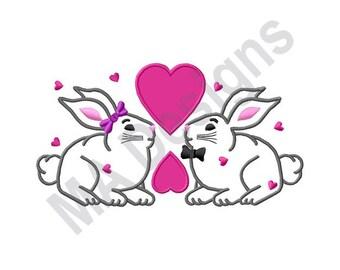 Valentine - Machine Embroidery Design, Bunnies, Hearts